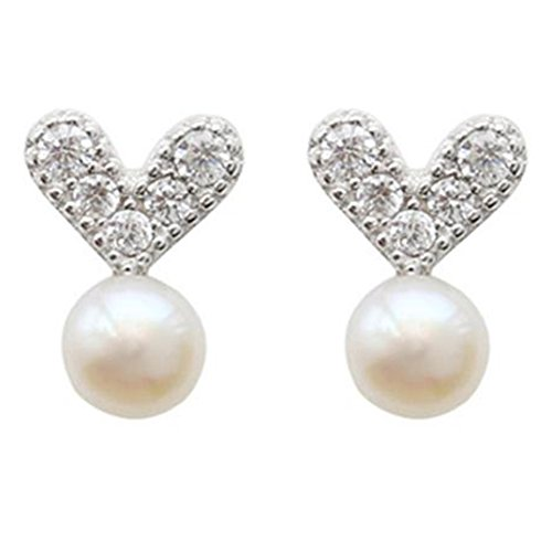 Drawihi Earring Pearl Love Plating Alloy Beautiful and Fashion Suitable for Ladies and Girls wearing at the Birthday or Party Size 1.1 * 0.7cm 1 Pair (Womens Pair Mädchen Kostüm)