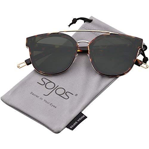 SOJOS Schick Klassische Retro Doppelt Metallbrücken Rechteckig Sonnenbrille Damen Herren SJ2038 mit Demi Rahmen/G15 Linse