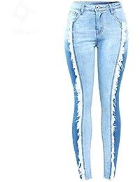 4f36848690 Z-BAIBAO Tallas Grandes Tassel Jeans Mujer Stretchy Patchwork Denim Skinny  Pencil Pants Pantalones