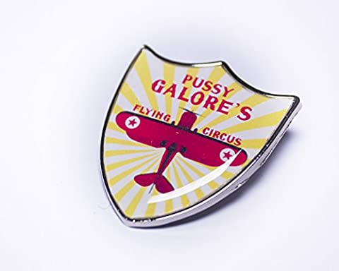 James Bond Goldfinger Pussy Galores Flying Circus Shield Pin Badge