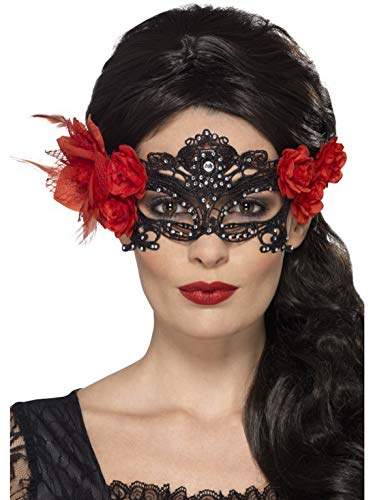 Halloweenia - Damen Day of The Dead Augenmaske aus Spitze mit Steinen Rose und Federn, Kostüm Accessoires Zubehör, perfekt für Halloween Karneval und Fasching, Schwarz