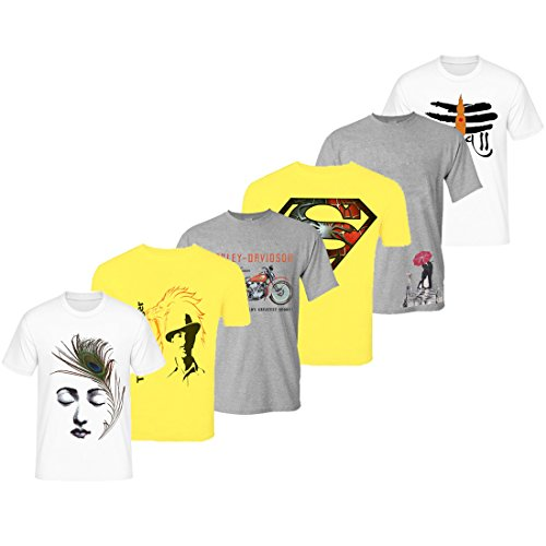 Lime Offers Set Of 6 Assorted Printed Round Neck T Shirt For...