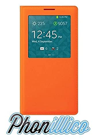 Etui Flip Cover Galaxy Note 3 - Phonillico® Coque Flip Cover S-View Orange pour