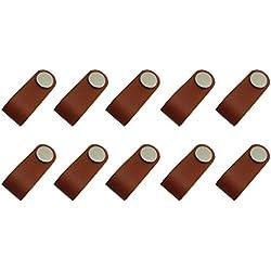 Homyl 10 Piezas Armario Manejar Mango de Maleta Tiradores Vintage de Cuero Marrón Hecho a Mano