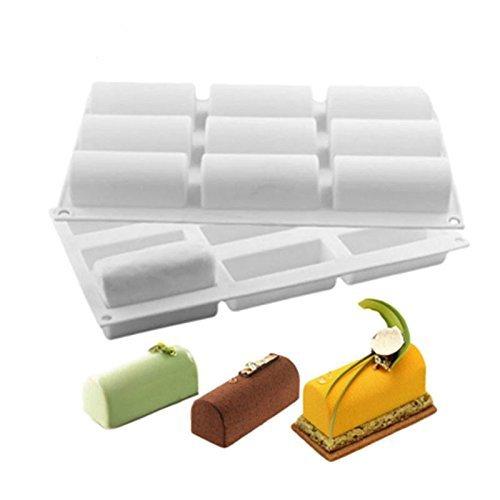 NiceButy Silikonform mit 9 Vertiefungen, halbzylinderförmig, antihaftbeschichtet, für Schokolade, Desserts, Eiskugeln, Kuchen, Seife, Kunstharz