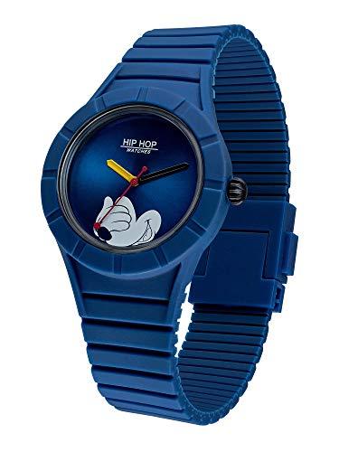 Hip Hop Watches - Herrenuhr Hip Hop Sonderedition Jubiläum Disney Micky Maus - Kollektion Micky Man - Silikonband - Gehäuse 42mm - Wasserdicht - Blau - Quarzwerk (Von Mäusen Männer)