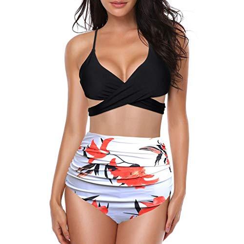 Man&Y-Bademode Bikinis Frauen-Badebekleidungs-vorderer Kreuz-Halter drücken Bikini-Blumenunterseite 2 Stück-Nette Badeanzüge-Strandkleidungs-Art- und Weisesommer hoch (Color : Rot, Size : Large)