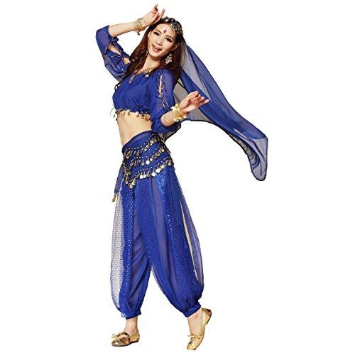 Best Dance Damen Bauchtanz Kostüm dreiteilig Laternen Ärmel Top Harem Pants Hip Schal Gürtel (Beste Verkleidung Kostüme)