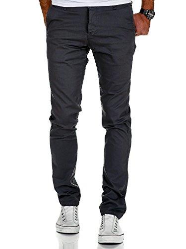 Amaci&Sons Herren Slim Fit Stretch Chino Hose Jeans 7010-09 Anthrazit W30/L32