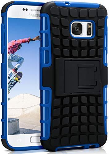 ONEFLOW® Outdoor Back-Cover aus Silikon + Kunststoff [Double-Layer] passend für Samsung Galaxy S7 | Extrem widerstandsfähiger 360° Schutz, Blau -