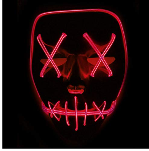 Guowy Light up Masken Smiling Stitched Halloween Rave -