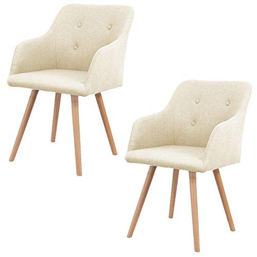 MCTECH® 2x Stuhl Esszimmerstühle Esszimmerstuhl Stuhlgruppe Konferenzstuhl Küchenstuhl Armlehne Büro mit Massivholz Eiche Bein (Type A, Beige)
