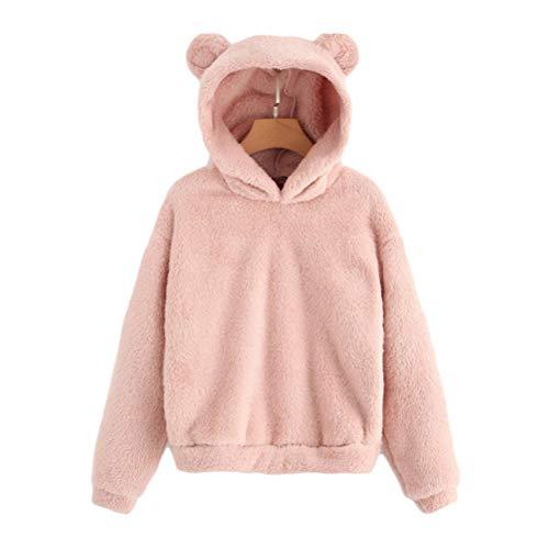 Enfei Frauen Rosa Schöne Mit Bären Ohren Fleece Feste Hoodie Pullover Mädchen Langarm Casual Sweatshirts (Slouchy Stiefel Pullover)