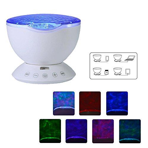 Gosear Ocean Wave LED RGB Projektor Rotierenden Nacht Lampe Projektor mit Musik Player Lautsprecher-Funktion mit Fernbedienung Weiß - 2