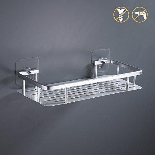 KES 1-Tier Badezimmer Regal Kein Bohr Rechteck Dusche Caddy Organisator Aluminium Ohne Bohren Schraube Freie WandHalterung Eloxiert, A4028ADF