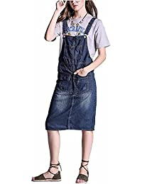 e1798418f08 Elwow Girl Lady s Plus Size Knee Long Stretch Washed Cotton Denim Jeans  Dungarees Skirt Dress