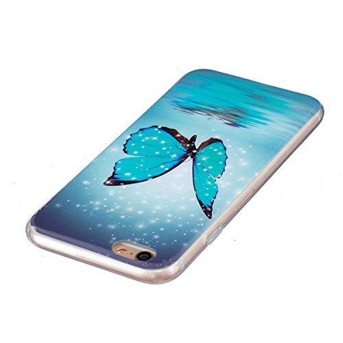 Felfy Silikon Case für iPhone 6 Hülle,iPhone 6S Luminous Cover Ultra Dünne Slim Silikon Etui Handy Hülle Weiche Transparente Luminous Gel TPU Back Case Leuchten In Der Nacht - Felfy Farbe Muster Schut Schmetterling Case