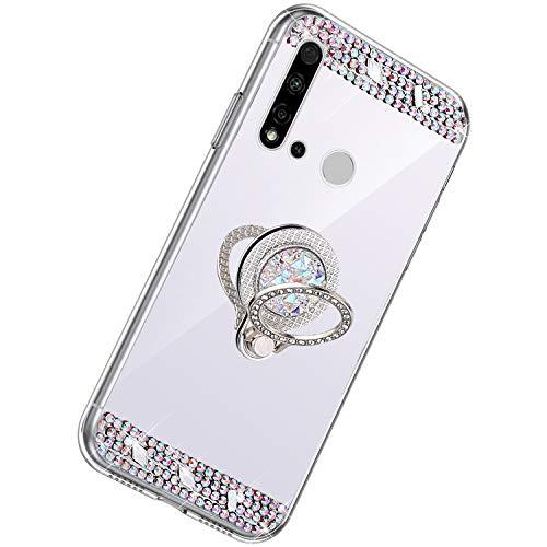 Herbests Kompatibel mit Huawei P20 Lite 2019 Hülle Glitzer Kristall Strass Diamant Silikon Handyhülle mit Ring Halter Ständer Schutzhülle Überzug Spiegel Clear View Handytasche,Silber