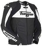Furygan Shifter Veste en cuir pour moto, Noir/blanc/argenté, xx-large