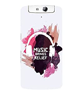 FUSON Music Brings Relief 3D Hard Polycarbonate Designer Back Case Cover for Oppo N1