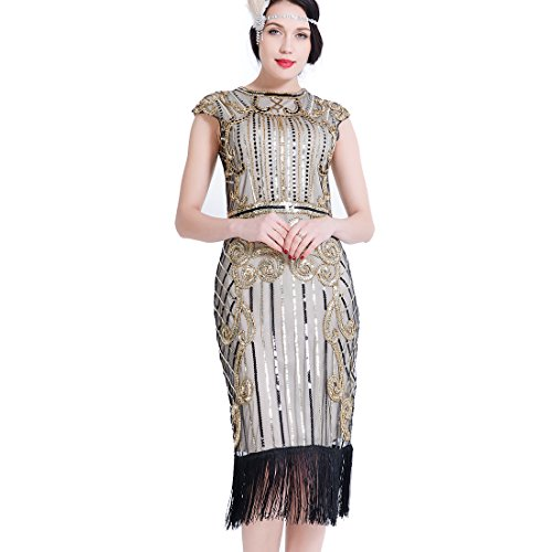 r Kleider Pailletten Perlen Art Deco Gatsby Party Vintage Fransen Fancy Dress Cocktail Kostüm (Erwachsene Klassische Link Kostüme)