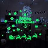 Wandtattoo Weihnachten Leuchtaufkleber Schneemann Leuchtsticker Fluoreszierende Aufkleber 29x20cm 3D Wandsticker Wanddeko Wandaufkleber Fensterbild Wand Dekoration Wohnzimmer Kinderzimmer Rovinci