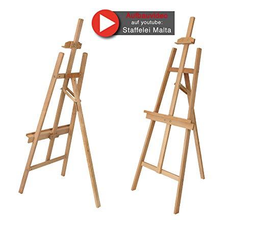 Staffelei MALTA aus Buchenholz FSC, Keilrahmen bis 110 cm Höhe, Mal- und Präsentationsstaffelei vom Künstler-Fachhandel