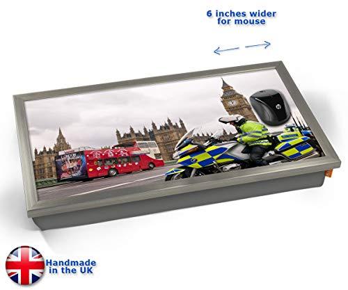 Westminster Police London Cushioned Bean Bag Laptop Lap Tray Desk - Built-in EMF Shield (Electro Magnetic Field) Kissen Tablett Knietablett Kissentablett - Chrome Effekt Rahmen