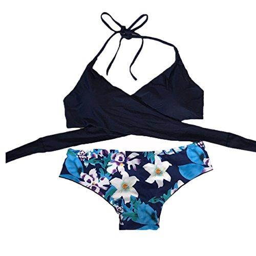 Kword Donna Bikini Set costumi da bagno push-up imbottito reggiseno costume da bagno Beachwearr (L)