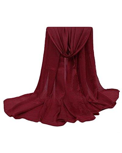 Auxo Femme Casual Mode Hiver Chaud Longue écharpe Wrap Châle Large Volé Scarfs Pashminas Vin Rouge