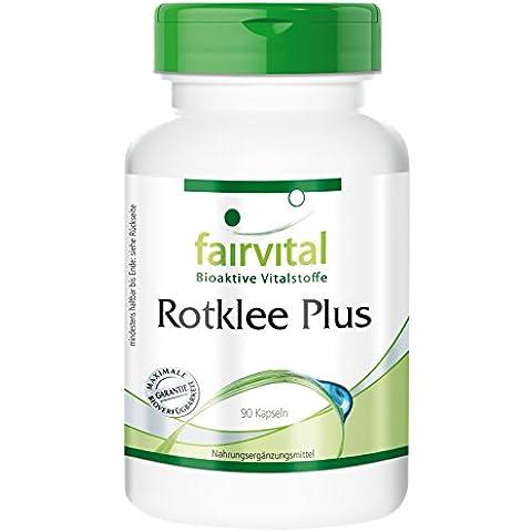 Fairvital - 90 cápsulas vegetarianas de extracto de trébol rojo (250 mg) - 50 mg de isoflavonas, vitamina B, cinc