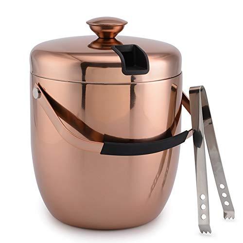 Malmo Eiseimer Eisbehälter sektkühler eiswürfelbehälter Eiskübel Ice Bucket Edelstahl doppelwandig mit Deckel Eiszange 3L große Fassungsvermögen Lange Kühlung (Kupfer)