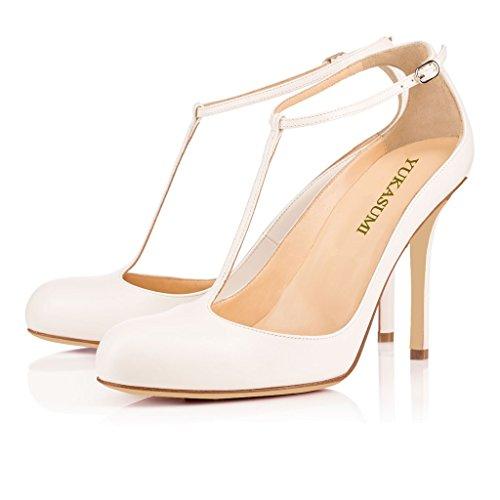 EDEFS Femmes Artisan Fashion Escarpins Bout Ronds T-Lanière Cheville Chaussures à Talon de 100mm Beige Blanc