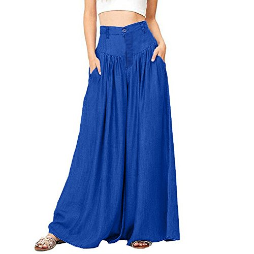 9954f165423b ADESHOP New Ladies Stretch Trousers, Women Soft Pantalon Wide Legs Long  Pants Casual High Waist