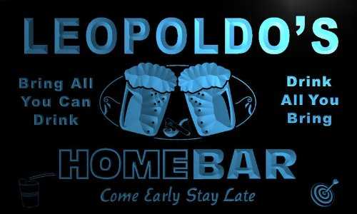 p905-b Leopoldo's Home Bar Beer Family Last Name Neon Light Sign Barlicht Neonlicht Lichtwerbung