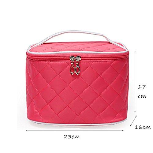CLOTHES- Pacchetto pratico di immagazzinaggio cosmetico pratico impermeabile pieghevole portatile di immagazzinaggio Handmade del sacchetto cosmetico ( Colore : Rose red ) Rose red