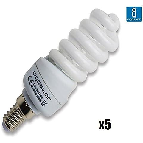 Pack de 5 Bombillas T2, 11W, forma espiral, casquillo fino E14, luz blanca 6400K