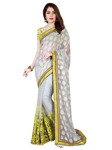 Mahotsav Women's Faux Chiffon Brasso Shimmer , Net Art Silk , Net Sarees ( 3411 )  available at amazon for Rs.2260