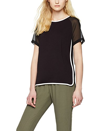 FIND Sheer Sleeve_short, T-Shirt Femme Noir (Black/ivory)