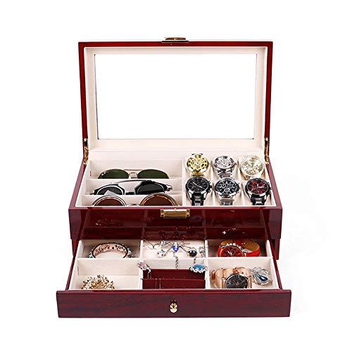 Naturer Echtholz Uhrenbox Brillenbox Damen Herren Edel Uhrenkasten Abschließbar 6 Uhren mit Glasdeckel,Uhrenschatulle Aufbewahrung Aufbewahrungsbox mit schmuckkasten -