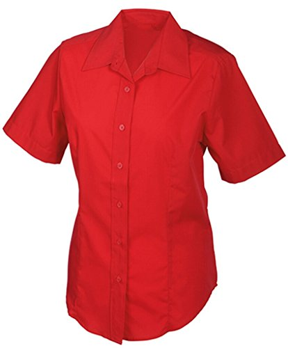 JAMES & NICHOLSON Bequemes, pflegeleichtes Kurzarm-Hemd und Damenbluse Red