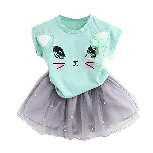 Sommer Kinder Kleider Mädchen T-Shirt + Garn Rock mädchen modegedruckten Hemd Kleid Kleidung setzen Hemdkleid Baby Tutu Kleid Mädchen Katze Muster Shirt Top Butterfly Tutu Rock Set ()
