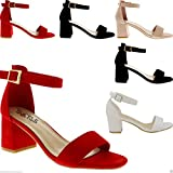Glamorous Fashion Women's Low MID Heel Block PEEP Toe Ladies Ankle Strap Party Strapp...