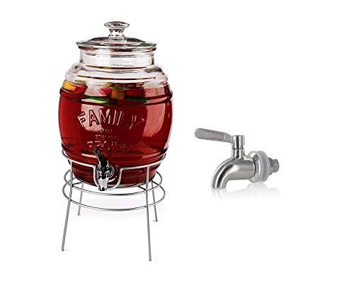 Eines Fasses Getränke Spender mit Edelstahl auslaufsicher Spigot. 2,2Liter Spender auf Metall Chrom Ständer -
