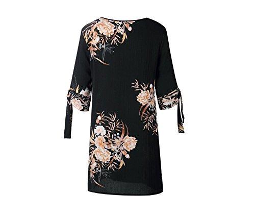 Frauen Sommer Boho kurzen Mini Maxi Abend Party Beach Kleid Floral Sundress S-3XL (XL, Schwarz)