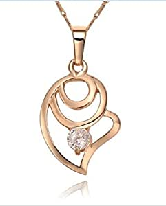 GOMO 18K Gold plated Rhinestone Crystal Fashion Love shape necklace