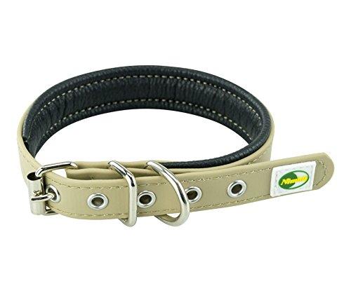 collier-pour-chien-rembourre-collier-en-nylon-reglable-a-boucle-20-mm-32-40-cm-taupe
