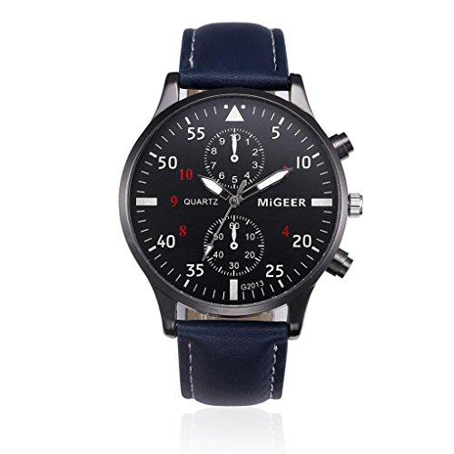 Longra☀☀ Aleación de Correa de diseño Retro analógico Shi Ying Reloj de los Hombres (Azul)