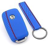 Schlüssel Hülle VA Wabenmuster + Keytag für 3 Tasten Auto Schlüssel Silikon Cover von Finest-Folia (Blau)