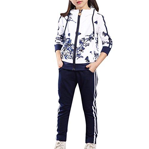 Lopetve Kinder Mädchen Jogginganzug Trainingsanzug, Sportanzug Blumen Jacke & Hose Sport Kapuzenpulli Marine 150 (Blumen-mädchen-jacke)